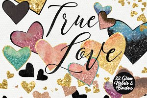 Rose Gold Hearts Glam Love Graphics