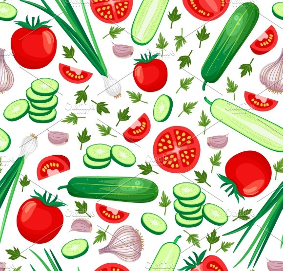 Healthy food background ~ Graphic Patterns ~ Creative Market
