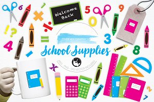 School Supplies illustration pack