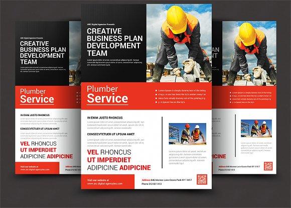 service brochure template - plumber service flyer flyer templates creative market