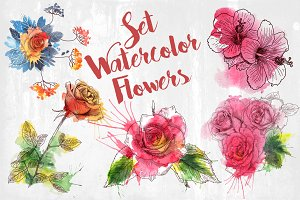 Vector set flowers.Watercolor effect