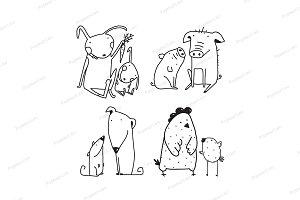 Chicken dog rabbit pig clip art