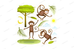 Funny Monkeys clip art collection