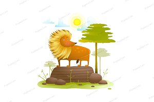 Lion animal cartoon in wild nature