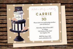 DIY Cake Printable Invitation