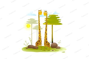Giraffes zoo with trees nature