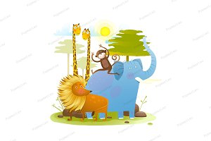 Animals zoo with landscape cartoon