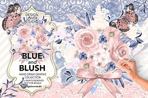 Watercolor BLUE and BLUSH design