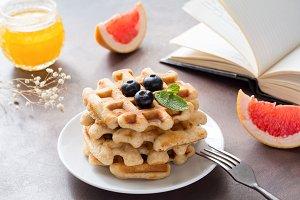 Cozy breakfast with waffles