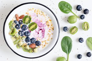 Smoothie bowl with fruits, berries