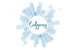 Outline Calgary Skyline