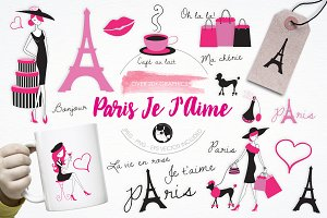 Paris Je T'Aime illustration pack
