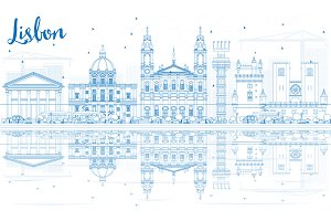 Outline Lisbon Skyline
