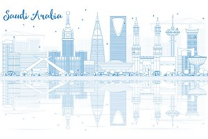 Outline Saudi Arabia Skyline