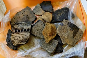 Fragments of ancient pottery vessels