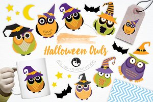 Halloween Owls illustration pack