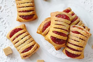 Sweet pastries with raspberries