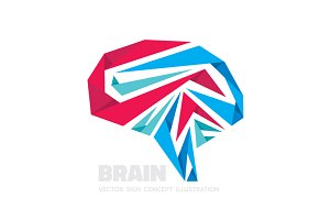 Abstract Origami Human Brain Vector