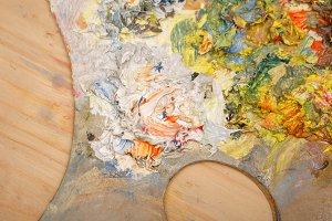 Oil paints on wooden palette