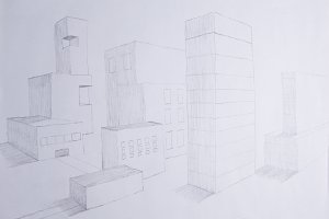 Sketch of the city in perspective