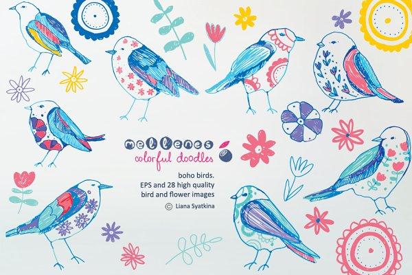 doodle boho birds