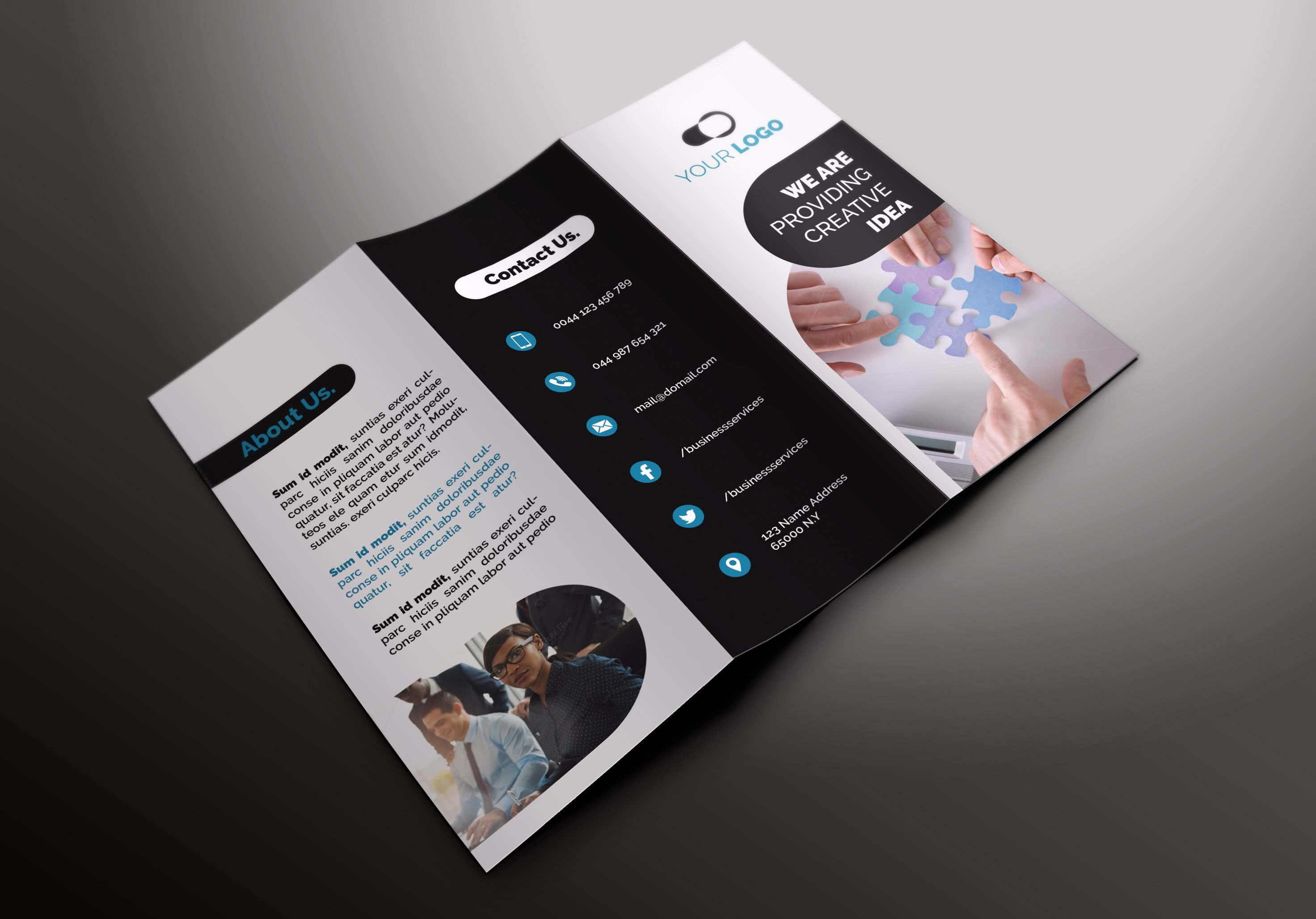 Business tri fold brochures brochure templates for Tri fold business brochure template