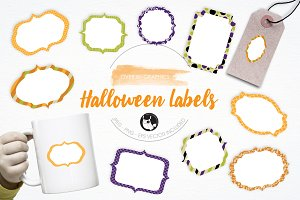 Halloween Labels illustration pack