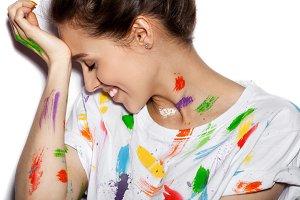 beautiful fashion woman color skin