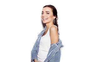 Cute funny girl in blue plaid shirt on white background