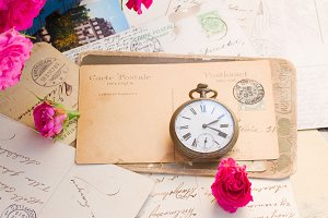 antique clock and   mail