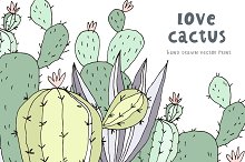 Hand Drawn Print with cactus