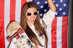 girl with national usa flag