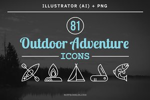 81 Outdoor Adventure Icons