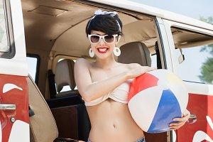 happy girl with beach ball