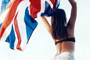 woman with national uk flag