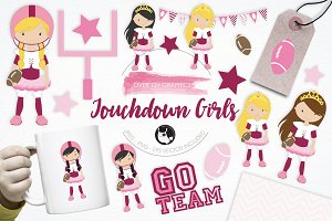 Touchdown Girls illustration pack