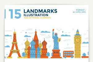 15 Landmarks Illustration