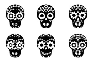 Black and white floral skull clipart