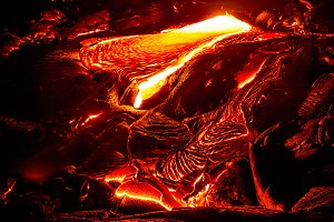 Amazing lava flowing