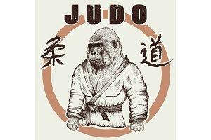 Judoka gorilla dressed in kimono
