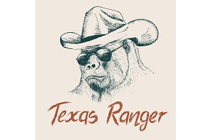 Gorilla like a texas ranger