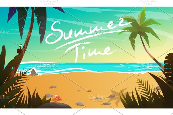 Summertime Cartoon Vector Illustration
