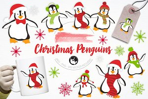 Christmas Penguins illustration pack