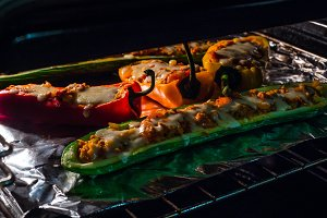 stuffed pepper in oven