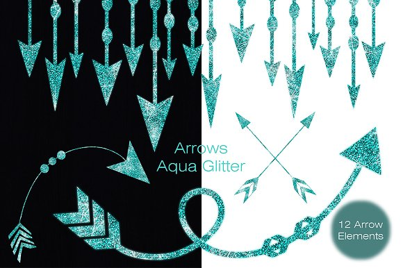 Aqua Glitter Arrow Graphics Bundle