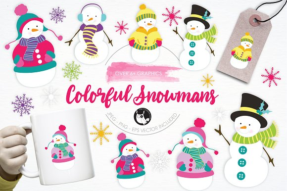 Colorful Snowmans Illustration Pack
