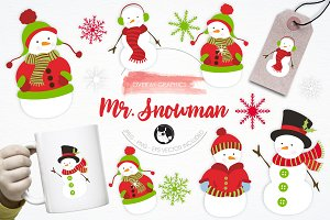 Mr. Snowman illustration pack