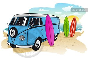 Surfing day with van