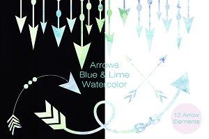Watercolor Arrows in Blue & Green