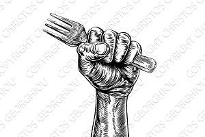 Propaganda Woodcut Fist Hand Holding Fork
